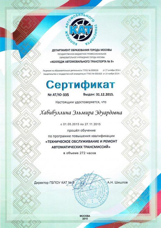 Сертификат - Эльмира Эдуардовна - Ремонт АКПП в Москве в TSG - AKPP-DVS.RU