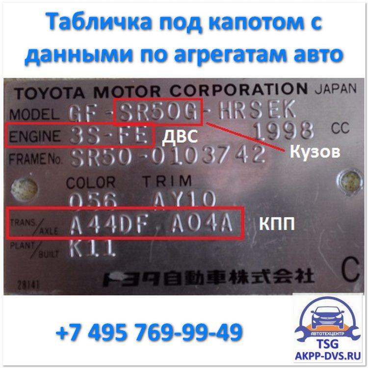 Масло в АКПП - Табличка с данными по агрегатам авто - Ремонт АКПП в +7 495 769-99-49 - AKPP-DVS.RU